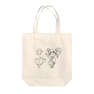 【アクシズ】流川萌愛とハムスター・モモンガ(線画) Tote bags