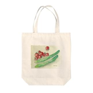 プチトマトときゅうりのイラスト Tote bags