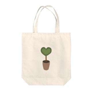 ハート♥グリーンの植木鉢 Tote bags