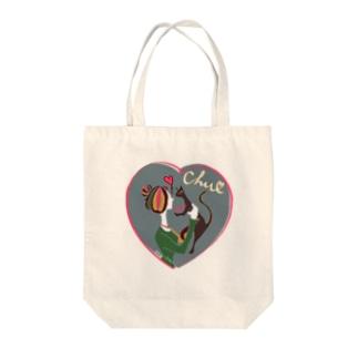 猫キッス グレー Tote bags
