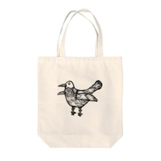 疫病退散!版画風のヨゲンノトリのイラスト Tote bags