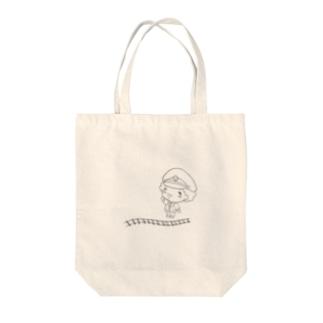 車掌のほんわかぱんちくん(モノクロ) Tote bags