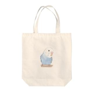 おしゃまな止まり木セキセイインコちゃん【まめるりはことり】 Tote bags