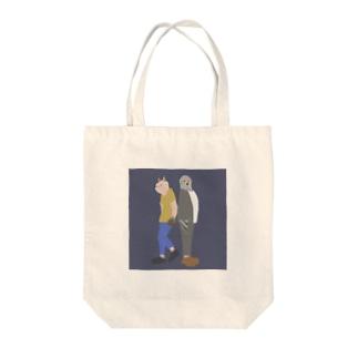 猫背くんと鳩胸くん(おもて面のみ) Tote bags