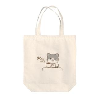 黒白猫のシンプルモノトーン Tote bags