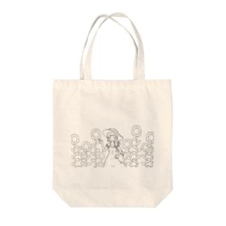 【アクシズ】ひまわり畑(線画) Tote bags