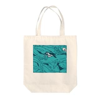 ぎゅうぎゅうオオサンショウウオ ブルー Tote bags
