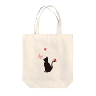 猫と蝶(赤) トートバッグ