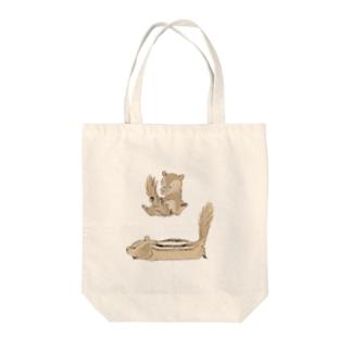 ひまわりとリス3 Tote bags