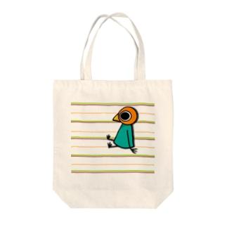シマシマなトリさん Tote bags