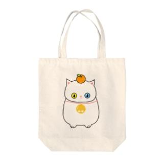 【トートバッグ】お鏡餅に扮した白猫さん Tote bags