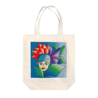 フラワー&ウーマン Tote bags