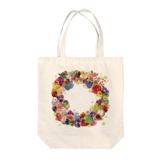 インコとお花リース Tote bags