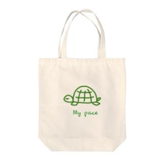亀ちゃん Tote bags