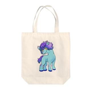 ブルーぽにー Tote bags