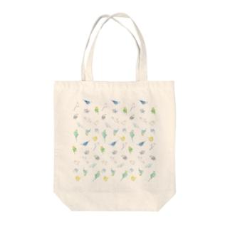 いっぱいセキセイインコちゃん【まめるりはことり】 Tote bags