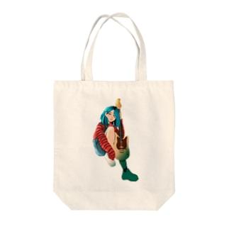 ギター 女の子 Tote bags
