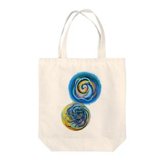 相互引力イラスト Tote bags