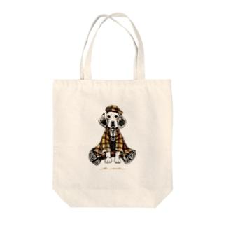 autumn dog Tote bags