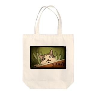 okappa-cat Tote bags