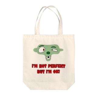 I'm not perfekt Tote bags