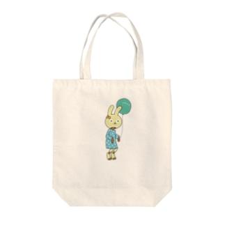 うさぎウルフ Tote bags