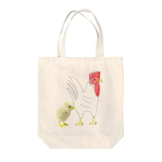 にわとりとヒヨコ Tote bags