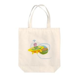 ハロー宇宙人 Tote bags