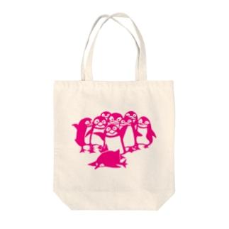 ペンギン切り絵(ピンク) Tote bags