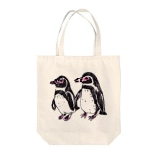 ツインペンギン Tote bags