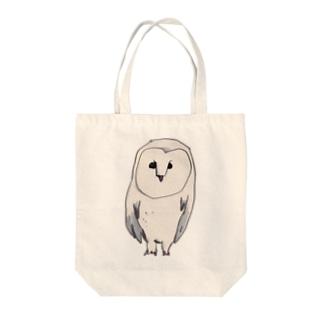 白いフクロウ Tote bags
