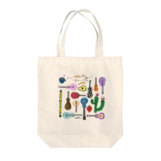 オヒルネニャンコ、ウクレレイロトリドリ Tote bags