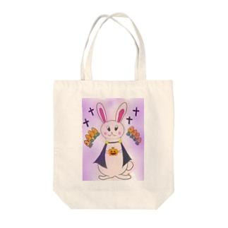 ハロウィン うさぎ Tote bags