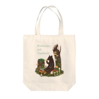 Cafe de Foretのきのことクマ Tote bags