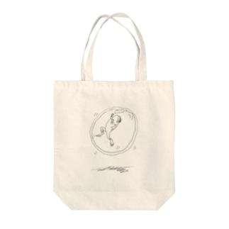 宙ぶらりん Tote bags