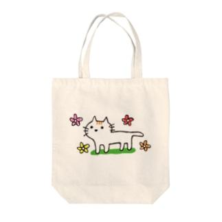 花とネコちゃん Tote bags