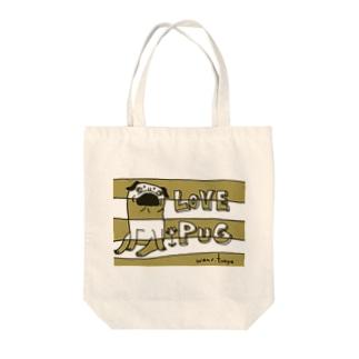 LOVE PUG BORDER Tote bags