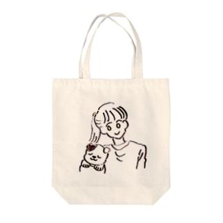 さっちゃん+わんすけ Tote bags
