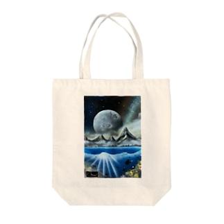スプレーアート 月光🌕 オシムラサイン入り Tote bags