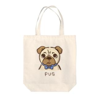 困り顔パグ Tote bags