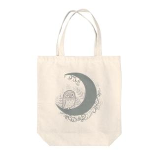 月にフクロウ モノクロ版 Tote bags
