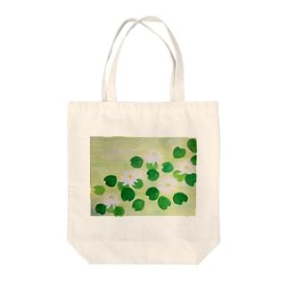 白い睡蓮 Tote bags