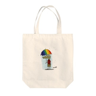 Rany day alligator boy Tote bags