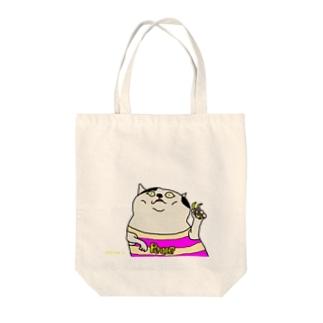 ピースサインする猫 Tote bags