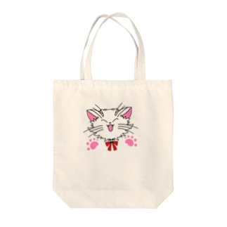 ねこねこうおの元気な白猫ちゃん 肉球あり Tote bags
