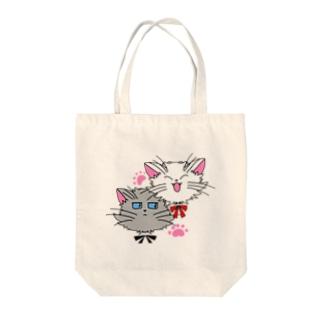 元気な白猫ちゃんとクールな灰猫くん Tote Bag