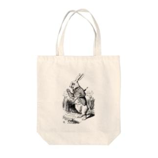 不思議の国のアリス 白ウサギ Tote bags