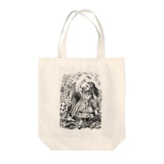 不思議の国のアリス 襲い来るトランプ Tote bags