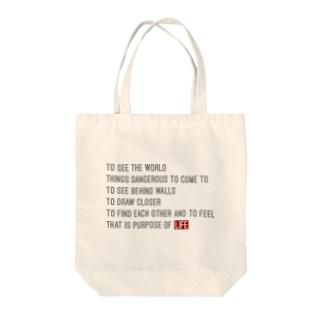LIFE! 名言 Tote bags