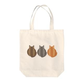 猫(3匹)の丸い背中 トートバッグ トートバッグ